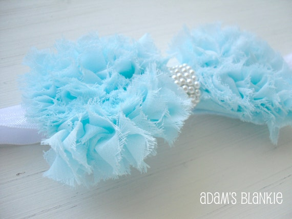 SALE - Blue Grass Ruffled  Bow Headband - Pearl Band - Soft Stretch - Baby Infant Girls Adults - Photo Prop