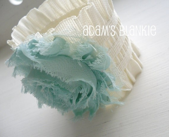 LAST ONE - Ruched Cream Cuff Bracelet with Aqua Shabby Chic Rosette - OR You Choose Rosette Color