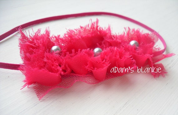 LAST ONE - Vibrant Pink Florets - Hot Pink Shabby Chic Rosettes - Tulle Pearls - Skinny Headband - Baby Infant Newborn Girls Adults