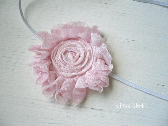 Ruffled Shabby Chic Rosette Headband - Pink on Skinny White Headband - Infant Newborn Girls Toddler Adults - Photo Prop