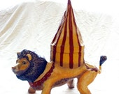 Paper Mache, Lion Circus Animals, Art Doll for Gift Giving, Retro Vintage Decor & Play