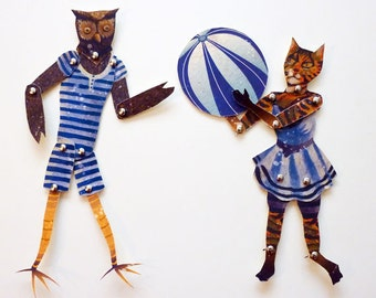 DIY Owl and the Pussycat, Paper Puppet Doll Set Printable PDF for Romantic Gift Giving, Retro Paper Play & Decor