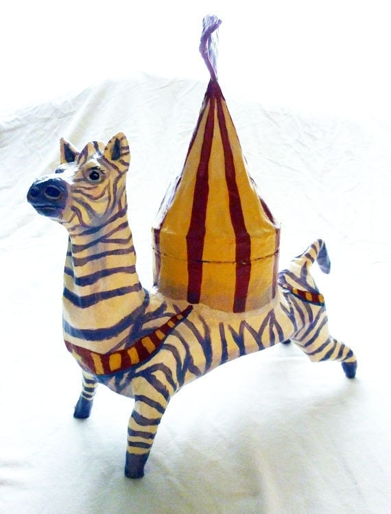 Paper Mache, Zebra Circus Animals, Art Doll for Gift Giving, Retro Vintage Decor & Play