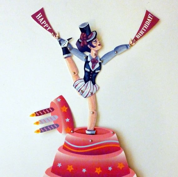 burlesque dancing birthday pop up card paper doll doll set, Birthday card
