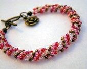 Hand Stitched Spiral Weave Bracelet Red Pink Bronze for Valentines Day    1.99 SHIPPING USA