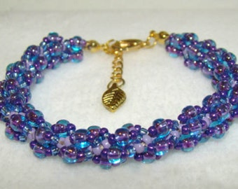 Spiral Weave Beaded Bracelet                        Bridesmaid Gift or February BIRTHDAY - Amethyst    1.99 Shipping USA