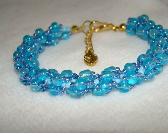 Hand Stitched Spiral Weave Beaded Bracelet                BIRTHDAY - December - TURQUOISE                        1.99 Shipping USA