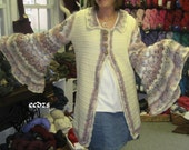 Natural Fibers Technicolor Crocheted Sweater Coat with Molly Weasley Sleeves, Reserved for Traci