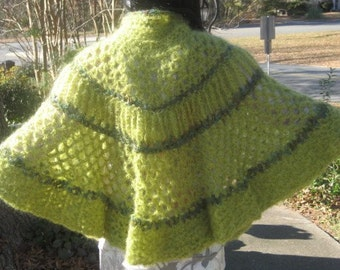 Crocheted Cape with Handcarved Oak Buttons, Elf Green Mohair and Nylon, Available Now