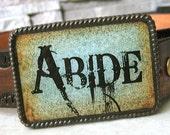 CLEARANCE - Abide belt buckle, men's, women's western blue rustic, cowboys, cowgirls, boho