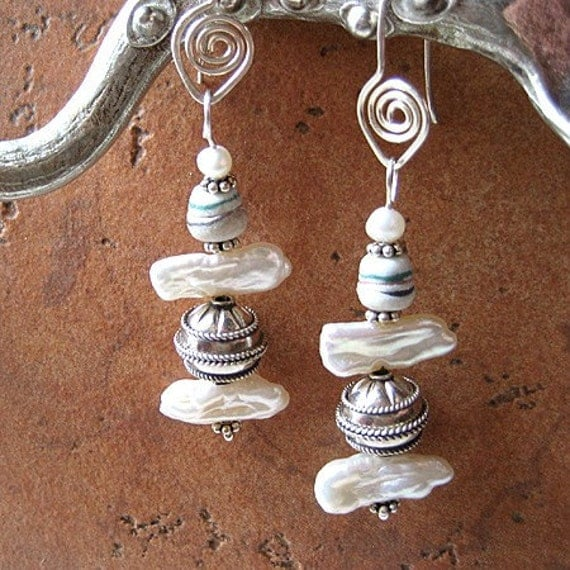 CLEARANCE boho rustic pearl earrings, freshwater pearls, silver, recycled glass - CALM WATERS