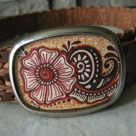 womens belt buckle, henna tattoo flower - Mehendi Blossom, fall autumn boho, earthy, rustic, free spirit, bohemian