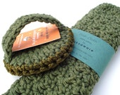 Dish Scrubbie and Dish Cloth set  - OLIVE LEAF