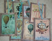 HoT AiR BALLOONS - Lovely soft colors -  8 Gift tags - Color Coordinated Ribbons - Also included is a lovely organza gift bag B22