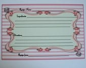 Custom Recipe Cards - Teacups - These can be Personalized - Pink Stripes - set of 26 Uncut recipe cards -  RL 4335