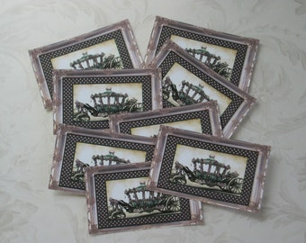 CINDERELLA CARRIAGE - Princess - A set of 16 mini cards, gift tags or Stickers - Romantic Coach - Polka Dots - G 26