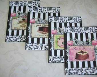 Cupcakes, Dessert, Chocolate - BLACK and WHITE DAMASK -  floral pink roses -Set  of 4 notecards with envelopes -  J 41