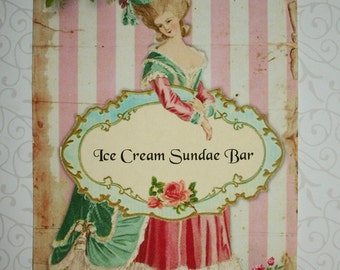 ViNTAGE BUFFET CARDS - Fully Customized for you -  MaRiE AnTOiNeTTe - 5x7 - Food Cards - Set of 4 - Click all photos - MACB 776