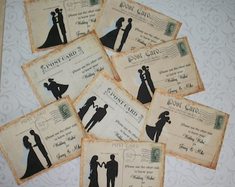WEDDING WISHES - Gift Tags - Guest sign in Tags - Romantic - Bride and Groom Silhouettes - Set of 24 - RL 3098