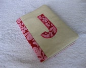 Red Henna Garden Passport cover with J initial