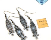 Antiqued Silver Designer 60mm x 12mm Chandelier  Earrings with 3 Bottom Loops, Sold per 4 pc, 1004-17