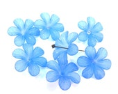 Blue Frosted Lucite 32mm Flower Beads, Set of 7, 1075-10