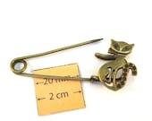 Brass  Metal Cat Lover 55mm x 25mm Safety Pin, Brooch, 1081-16