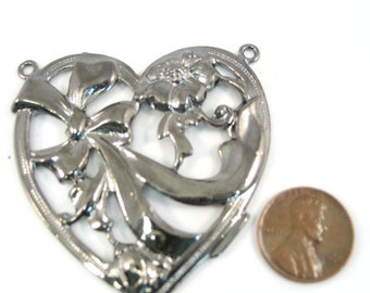 Gun Metal Two Loops 60mm x 50mm Heart Pendant, 1018-02