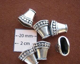 Antiqued Silver Metal 15mm x 15mm Bead Caps, Set of 6, 1051-04