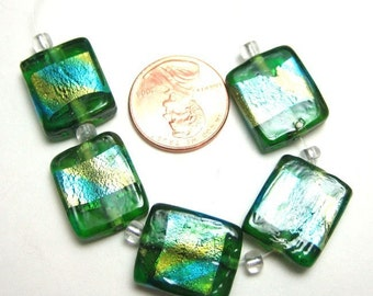 Turquoise and Green 15mm x 14mm Lampwork Beads, Set of 5, 1050-28