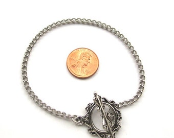 Antiqued Silver Chain 8 inches (20 cm) Bracelet with a Filigree Style Toggle Clasp is ready for Charms or Dangles,Sold Individually, A078