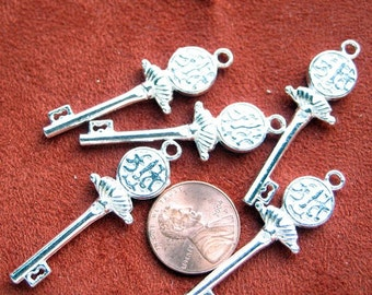 Silver Plated 45mm x 10mm Key Charms, Set of 5, 1003-9