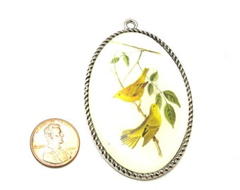 Silver Metal Birds on Branch Graphic, Large 70mm x 40mm Oval Pendant, 1009-07