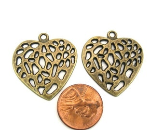 Antiqued Brass 30mm x 28mm Heart Charm or Pendant Set of 2, 1033-07