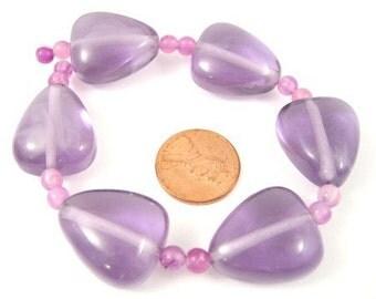 Purple Resin 22mm x 18mm Heart Beads, Set of 6, 1030-05