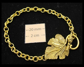 Gold Metal Chain Bracelet with a Grape Leaf Toggle Clasp is ready for Embellishment with Charms or Dangles, 1 pc , A081