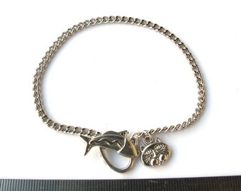 Cat Lover, Silver Metal Chain 8 inches Bracelet with Cat and Fish Toggle Clasp and Charm, Just Add Charms or Dangles,C002