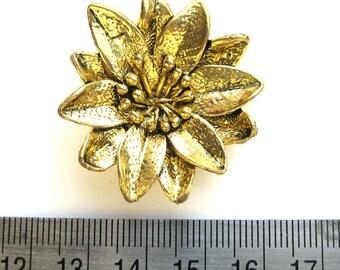 Antiqued gold metal 40 mm flower pendant, 5 mm hidden loop on back, 1065-02