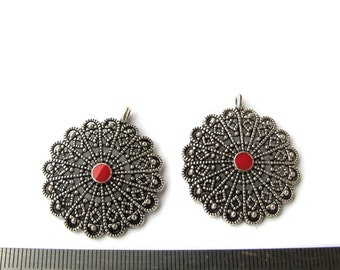 Antiqued Silver Metal  35mm Round Filigree Style with Red Enameled Center Pendant, Sold per 2 pc,  1075-39-3