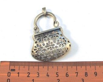 Antiqued Silver Metal 60mm x 45mm PURSE Pendant, 1043-25