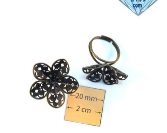 Antique Brass Filigree 26 mm Flower Adjustable  Ring, Set of 2, 1014-07-1