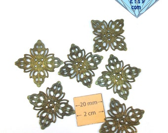 Antiqued Brass Filigree 25mm x 25mm Stamping also great for wrapping, Set of 6, 1014-18