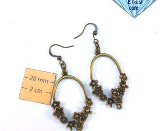Antiqued Brass 60mm x 25mm Oval Flowerish Design Chandelier Earrrings Base, Sold per Pair, 1014-21-1