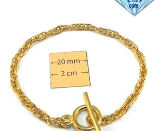 Gold Metal Snake Chain 8 inches (20 cm) Bracelet with a Toggle Clasp is ready for Embellishment with Charms or Dangles,1026-30