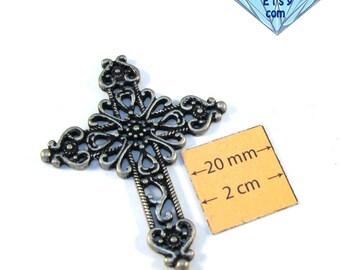 Oxidized SIlver Metal 55mm x 45mm Cross Pendant, 1004-27
