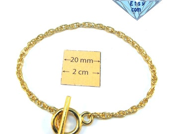 Gold Metal Snake Chain 8 inches (20 cm) Bracelet with a Toggle Clasp is ready for Embellishment with Charms or Dangles, A099