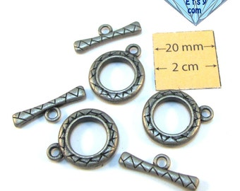 Antiqued Silver Metal 17mm Round Toggle Clasp, Set of 3, 1054-53