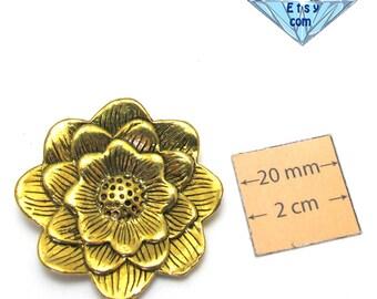 Antiqued gold metal 35 mm flower pendant, 5 mm hidden loop on back, 1061-10