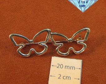 Silver Metal Two Butterflies 50mm x 20mm Pin, Brooch, 1062-01