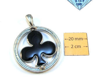 Silver Metal, Black Enameled, Moveable CLUB, 45mm Round Pendant, 1062-13